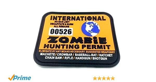 Permiso de caza de Mundo Zombie Internacional Parche de Velcro Grande de Airsoft de PVC Naranja: Amazon.es: Deportes y aire libre