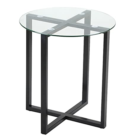 Yaheetech End Side Table Round Glass Top Coffee Sofa Table Modern Small  Spaces Bedroom Living Room