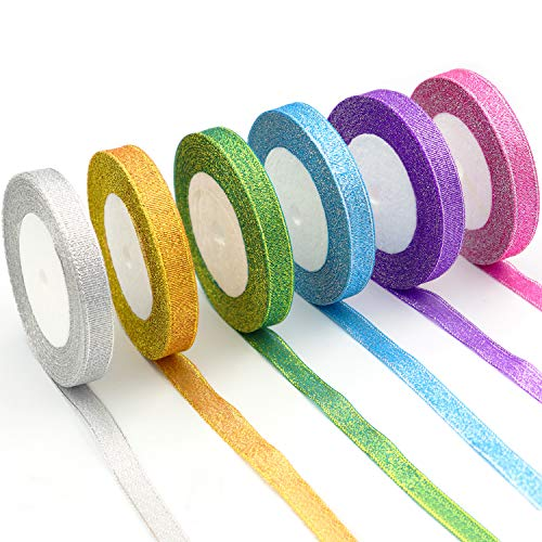 6pcs Sparkly Glitter Ribbon for Gifts, Wrapping Paper, Cards Decoration (150 Yards)