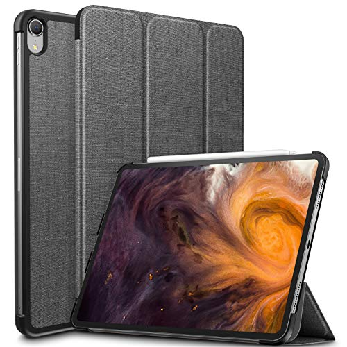 Infiland iPad Pro 11 Case,Tri-Fold Shell Case Compatible with iPad Pro 11 Inch 2018 Release (Support 2nd Gen Apple Pencil Wireless Charging, Auto Wake/Sleep), Gray