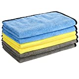 GTF Microfibre Car Cleaning Cloths, 16'' x 24'' Large Microfibre Car Cloth Double-Side Plush & Super Absorbent Car Cleaning Towel for Home Polishing Washing and Detailing (6 Pack)