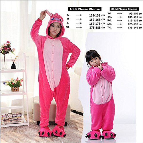 Amazon.com: MH-RITA Stitch Tiger Animal Pajamas Sleepwear Unisex Flannel Hoodie Pajama Sets Cute Cartoon Homewear Winter Pyjama Adult Childv,Pink Stitch,XL: ...