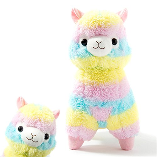 KSB Rainbow Plush Alpaca Stuffed Toy, 18-Inch