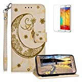 Funyee Magnetic Flip Case for Samsung Galaxy S7 Edge [Free Screen Protector],Luxury Moon Embossed Pattern PU Leather Soft Wallet Case [Built-in Credit Card Slots] for Samsung Galaxy S7 Edge,Yellow