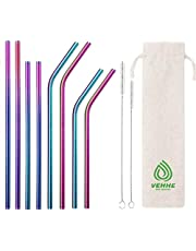 VEHHE Reusable Straws 8 Set Multi Color Stainless Steel Straws - Cleaning Brush for 20 Oz (Rainbow: 8.5 inch + 10.5 inch)
