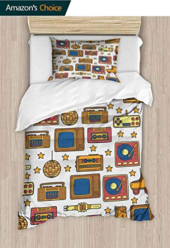 PRUNUS-Home 90s 3D Bedding Quilt Set,90s Theme with Old Style Recorder Stereo Television Roller Skate Shoes Electronic Watch Reversible Coverlet,Bedspread,Gifts for Girls Women 59