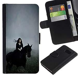 All Phone Most Case / Oferta Especial Cáscara Funda de cuero Monedero Cubierta de proteccion Caso / Wallet Case for Samsung Galaxy S6 // Witch Hood Riding Field Gallop