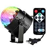 Led Party Lights Magic Disco Ball Strobe Light【Newest Generation】FSJEE Remote Control DJ Portable Lights 3W 7Colors Sound Activated Stage Lights for Kids Birthday Gift Stage Wedding Holiday Party