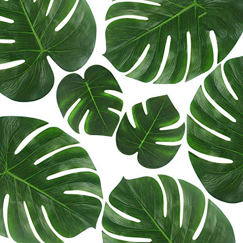 OUTUXED 30PCS Tropical Leaves (14 and 8) Palm Leaves Imitation Plant Leaves, Hawaiian Jungle Beach Party Decorations Summer Flowers