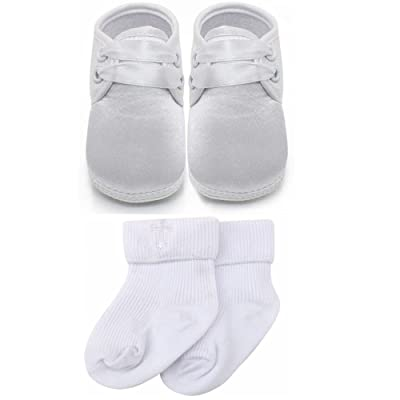 Delebao Baby Infant Lace Up Satin Christening Baptism Shoes Bootie Slippers Sneakers