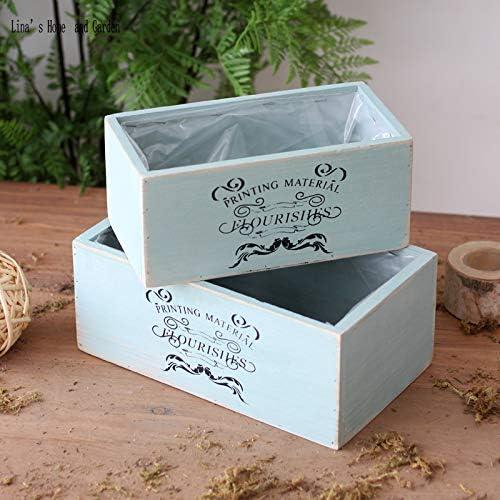 Caja de madera para macetas – azul aguamarina hecho a mano de ...