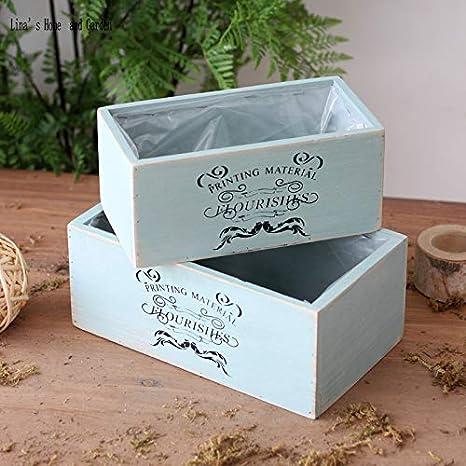 Caja de madera para macetas – azul aguamarina hecho a mano de madera suculentas cajas: Amazon.es: Jardín