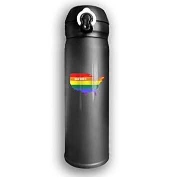 American LGBT Pride Vacuum Insulated Stainless Steel Travel Mug Sports  Water Bottle 10 OZ