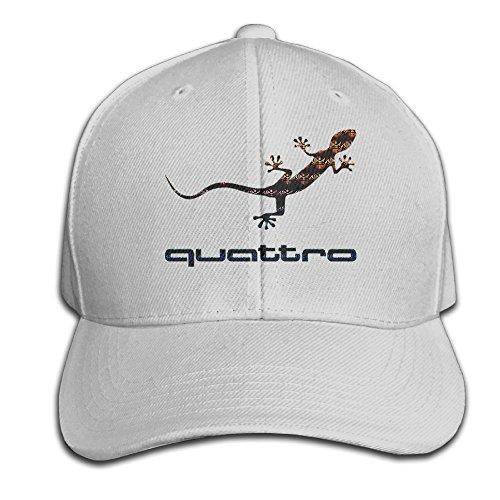 BACADI Unisex Audi Quattro Gecko Logo Adjustable Peaked Baseball Caps Hats Duck Tongue Hat (Cap Audi)
