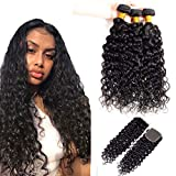 Virgin Water Hair Bundle and Closure 12 14 16 with 10 Inch Free Part 100% Human Hair Bundles with Closure Water Wave 3 Bundle with Closure 4x4 Size