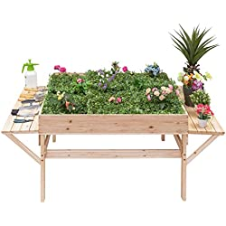 Giantex Garden Raised Bed Wood Flower Elevated Gardening Planter w/ 2 Side Platforms Plant Workstation
