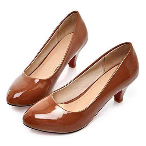 Para Tacon Mujer Brown RAZAMAZA de Zapatos Medio OEwRTIq