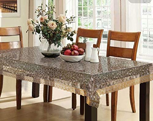 Kuber Industries PVC 6 Seater 3D Transparent Dining Table Cover – Gold