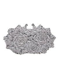 Fawziya Rose Clutch Purse Oversized Floral Handbags For Women Evening Clutches