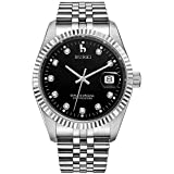 BUREI Men's Luxury Black Automatic Watch with Sapphire Crystal Rhinestone Marker Date Dial and Silver Stainless Steel Band
