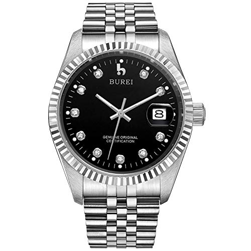 - BUREI Men's Luxury Black Automatic Watch with Sapphire Crystal Rhinestone Marker Date Dial and Silver Stainless Steel Band