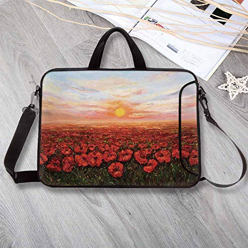 """(Flower Waterproof Neoprene Laptop Bag,Wild Opium Poppy with Petals Field in Front of Sunset Artistic Picture Laptop Bag for Business Casual or School,13.8""""L x 10.2""""W x 0.8""""H)"""