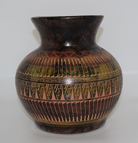 Colorful Hand Etched Decorative Horse Hair (Painted Pottery Vase)
