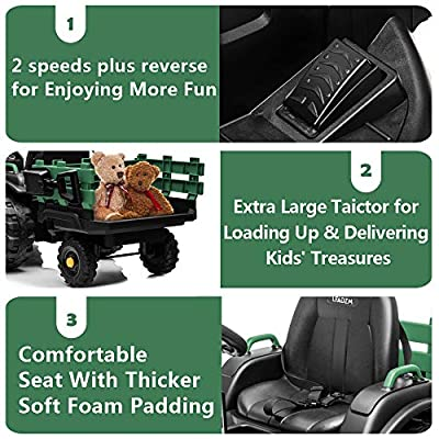 JOYMOR Kids Farm Tractor with Trailer Toy, 12V Battery Ride on Car 4 Wheelers with 2 Speed, Tractor Truck Vehicle for Children: Toys & Games