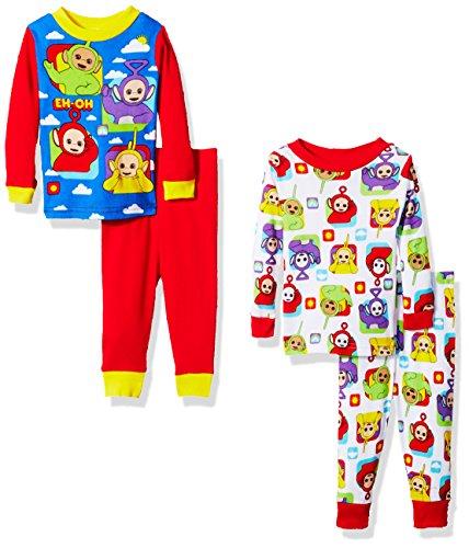 Teletubbies Baby Boys' 4-Piece Cotton Pajama Set, Red, ()