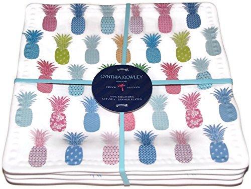 Cynthia Rowley Melamine Set of 4 Dinner Plates PINEAPPLES-Multicolor