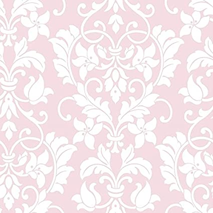 Wallpaper White Floral Heart Damask On Soft Pink Background Classic Baroque Wallpape
