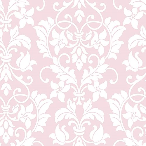 Wallpaper White Floral Heart Damask on Soft Pink Background Classic Baroque - Floral Baroque
