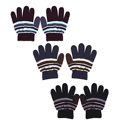 Price comparison product image Peach Couture Childrens Toddler Warm Winter Gloves Value 3 Pack,  Kid's One Size (Multi-Stripe Assorted)