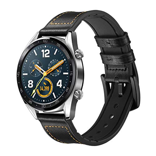 Sunday88 Compatible Huawei Watch,Hybrid Rubber Leather Sports Sweat Proof Silicone Vintage Replacement Band for Huawei Watch GT/Huawei Watch GT Active Smart Watch (Black, Free Size)