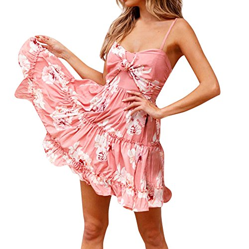 Dress Knot Swing (Sunaei Women Dress,Floral Spaghetti Strap Tie Knot Front Flowy Pleated Mini Swing Dress (Pink, M))