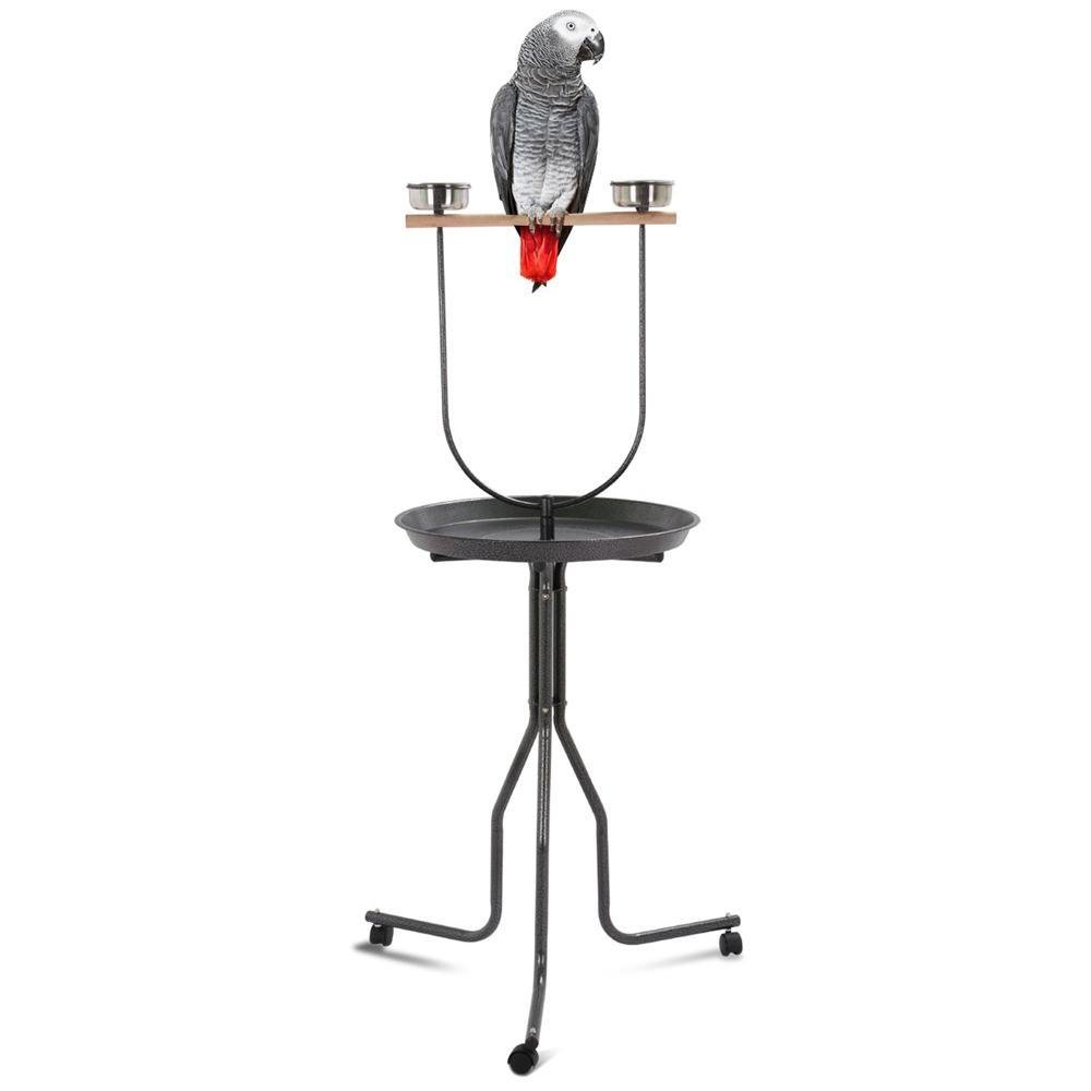 Topeakmart 61.8'' Large Bird Play Stand T-Stand Parrot Perch w/Wheels Black