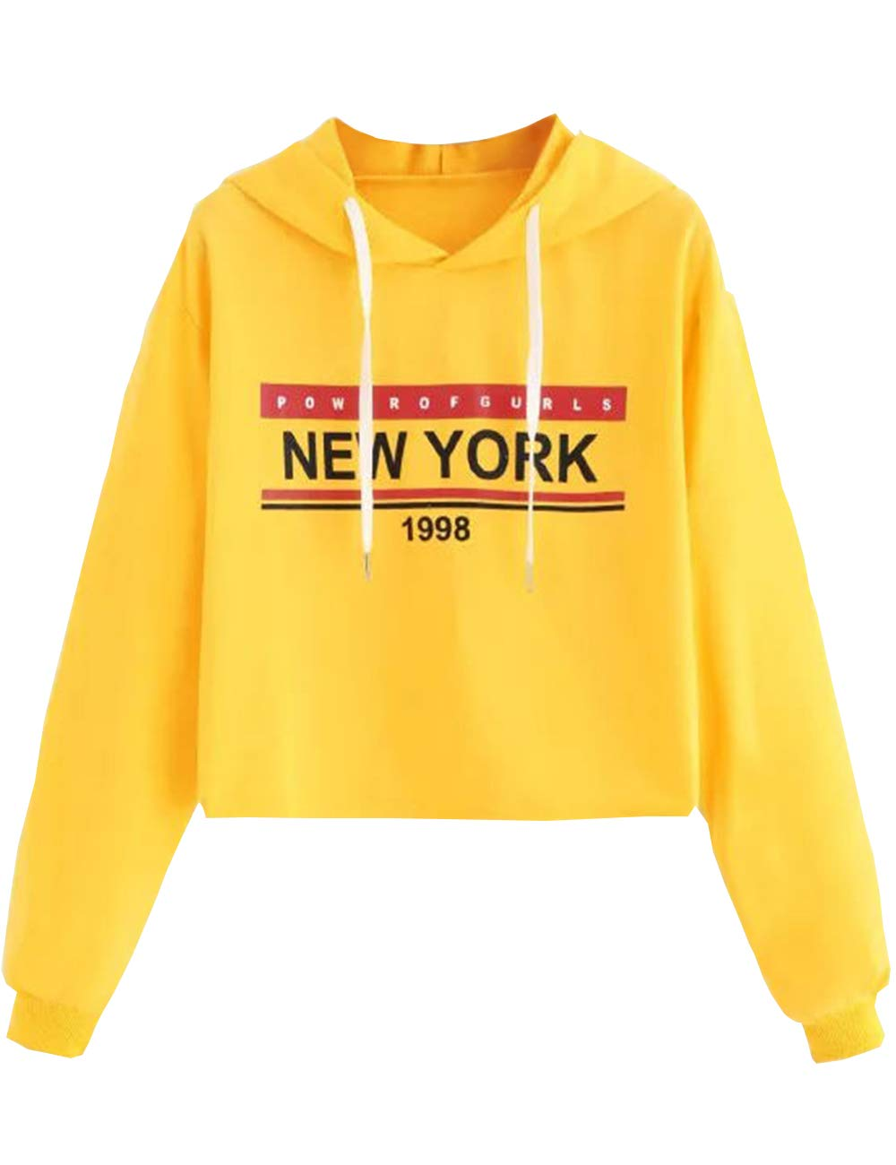 Sweatshirts Teen Girls USA American Flag Jacket Crop Top Letter Print Cropped Hoodie Pullover Jumper Sweater (G-Yellow, S)