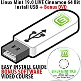 Linux Mint 19.0 LIVE Cinnamon Install USB 16Gb Bootable with Persistence 64 Bit Operating System + Bonus Software & Linux Course DVD Disk
