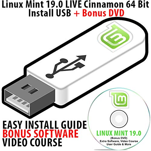 Linux Mint 19 0 LIVE Cinnamon Install USB 16Gb Bootable with Persistence 64  Bit Operating System + Bonus Software & Linux Course DVD Disk