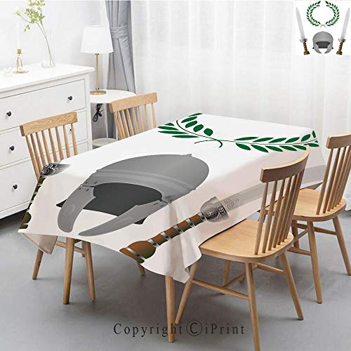 Natural Cotton Linen Rectangle Tablecloth Garden Botanic Print Pattern Country Rustic Village Burlap Table Cover Cloth Art,55x87 Inch,Toga Party,Roman Glory Heritage Knight Fourth Variant Shield Legen -