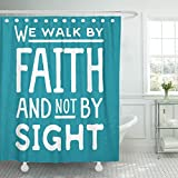 VaryHome Shower Curtain Word We Walk By Faith and Not Sight Design Retro Christian Scripture Bible Verse on Colored Beliefs Waterproof Polyester Fabric 72 x 72 inches Set with Hooks