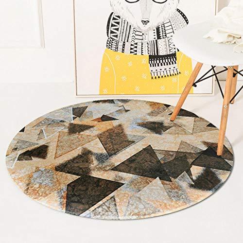 LHYJH Fondo de cafe triangulo Amarillo Negro Cristal Polar Moderno Sala de Estar Dormitorio Mesa de Comedor Mesa de cafe Alfombra Redonda Resistente al desgaste-120 ×