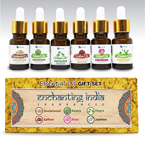 Aromatherapy Essential Oils - Pack of 6 100% Pure & Natural Therapeutic Oils - 10 ML Each (Sandalwood, Rose, Saffron, Kewra, Mogra, Jasmine) Enchanting India Set