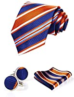 HISDERN Men's Stripe Wedding Silk Neck Tie and Pocket Square Cufflinks 3pcs Set