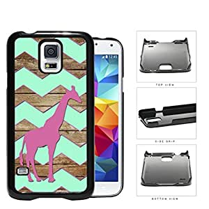 Dark Pink Color Giraffe on Mint Chevron and Brown Wood Pattern Samsung Galaxy S5 SM-G900 Hard Snap on Plastic Cell Phone Cover