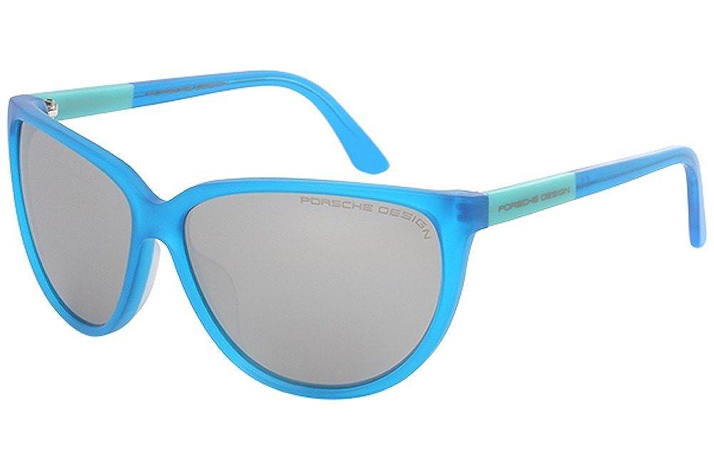 c34098a873ef Amazon.com  Porsche Design Womens P 8588 P8588 A Black Mirrored Green  Cateye Sunglasses 60mm  Clothing