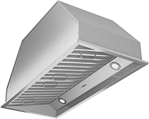 "Ancona AN-1313 Chef Series Built-in 34"" Ducted 600 CFM Insert Range Hood with LED Lights, Silver"