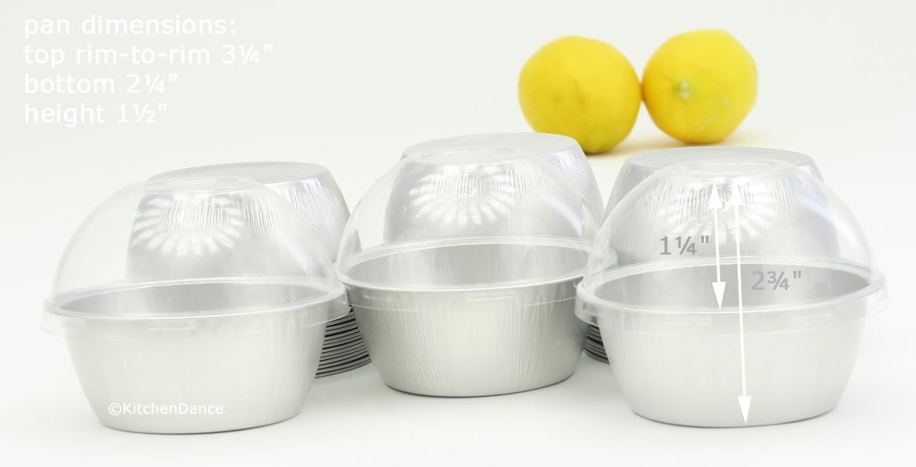 KitchenDance Disposable Aluminum Colored Baking Cups- Creme Brulee cups- Dessert Cups- 4 oz. Size with Lids (100, Silver w/High Dome Lids)