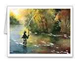 ''Perfect Drift'' - Set of 10 Fly Fishing Note Cards With Envelopes