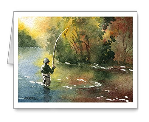 ''Perfect Drift'' - Set of 10 Fly Fishing Note Cards With Envelopes by DJ Rogers Fine Art